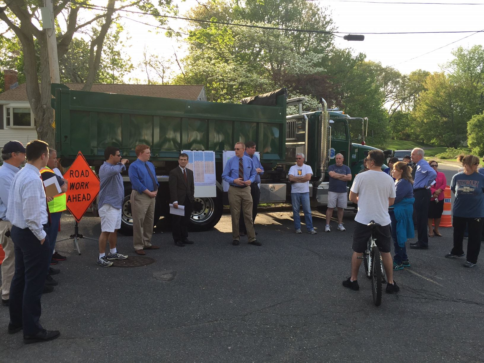 Braintree residents join Mayor Sullivan for the announcement of the 4th 100 roads program