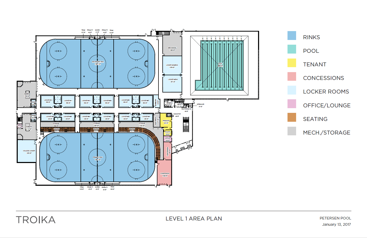First floor area plans for the Petersen Pool facility