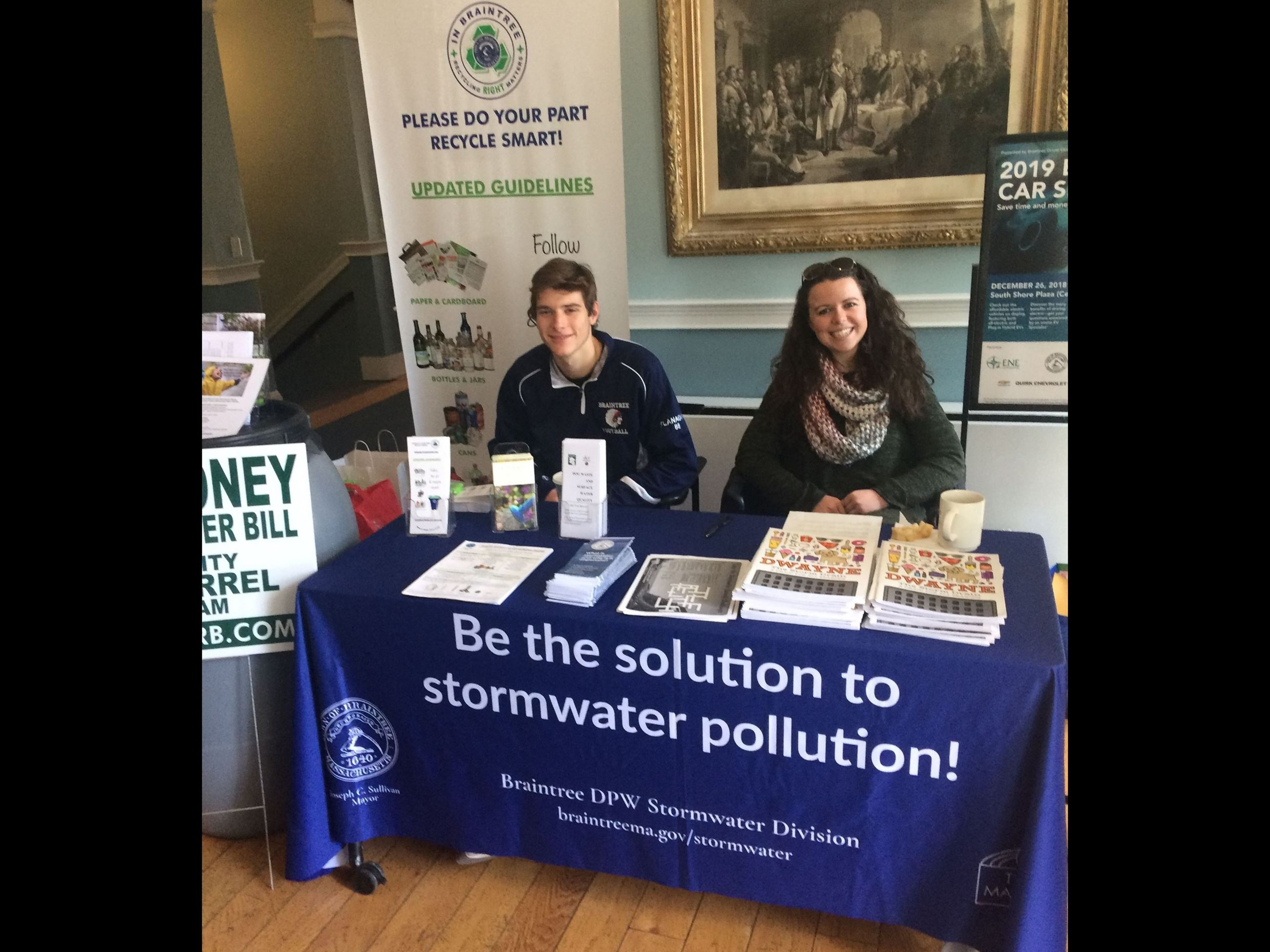 Picture of Braintree Stormwater Division display table at Braintree Farmers Market